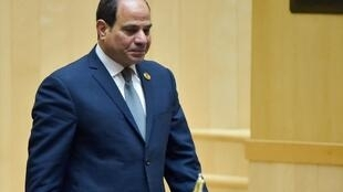 Egyptian President and new African Union chairperson Abdel Fattah al-Sisi walks during the 32nd African Union (AU) during the 32nd African Union (AU) summit in Addis Ababa on February 10, 2019.