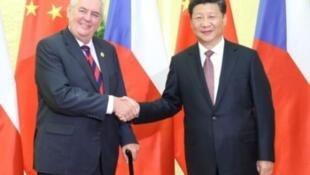 习近平与访华的捷克总统泽曼握手