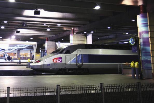 A TGV train arrives at Paris's Montparnasse station