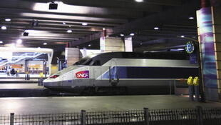 A TGV train arrives at Paris's Montparnasse station