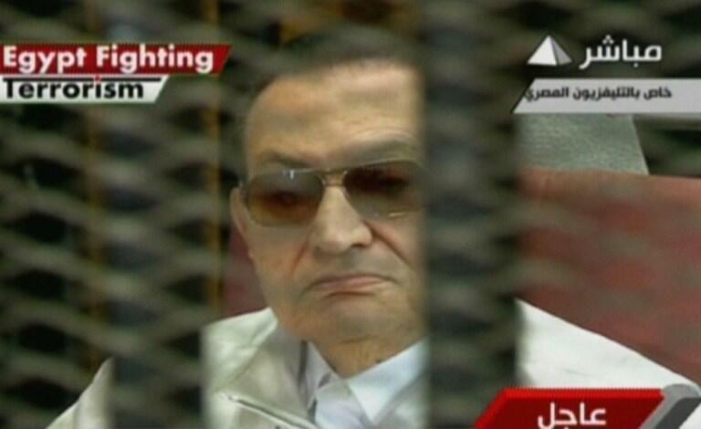 Hosni Moubarak no Tribunal do Cairo neste domingo, 25 de agosto de 2013.