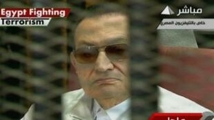 Hosni Mubarak en el tribunal de El Cairo, el 25 de agosto de 2013.