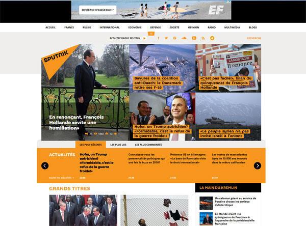 Capture d'écran du site internet russe Sputnik