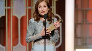 Isabelle Huppert aux Golden Globes, 8 janvier 2017.