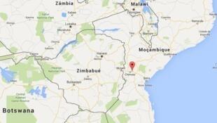 Localização de Gondola, na província de Manica, em Moçambique.