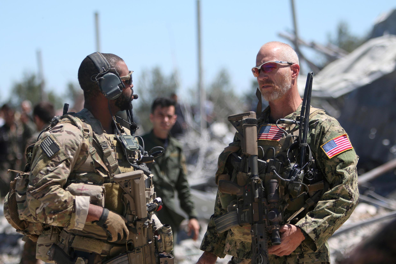 Des soldats américains au quartier général des YPG après un bombardement turc, en 2017 sur le mont Karachok (illustration).