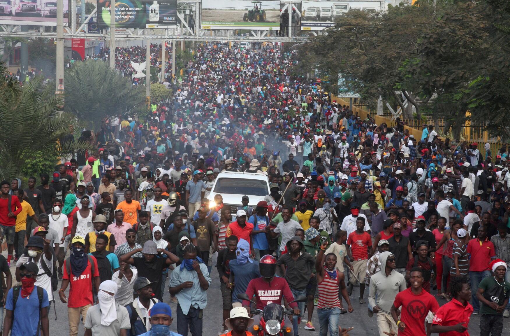 Manifestaciones en Puerto Príncipe, la capital de Haití, este 12 de febrero de 2019.