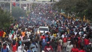 Manifestations à Port-au-Prince, la capitale d'Haiti, le 12 février 2019.