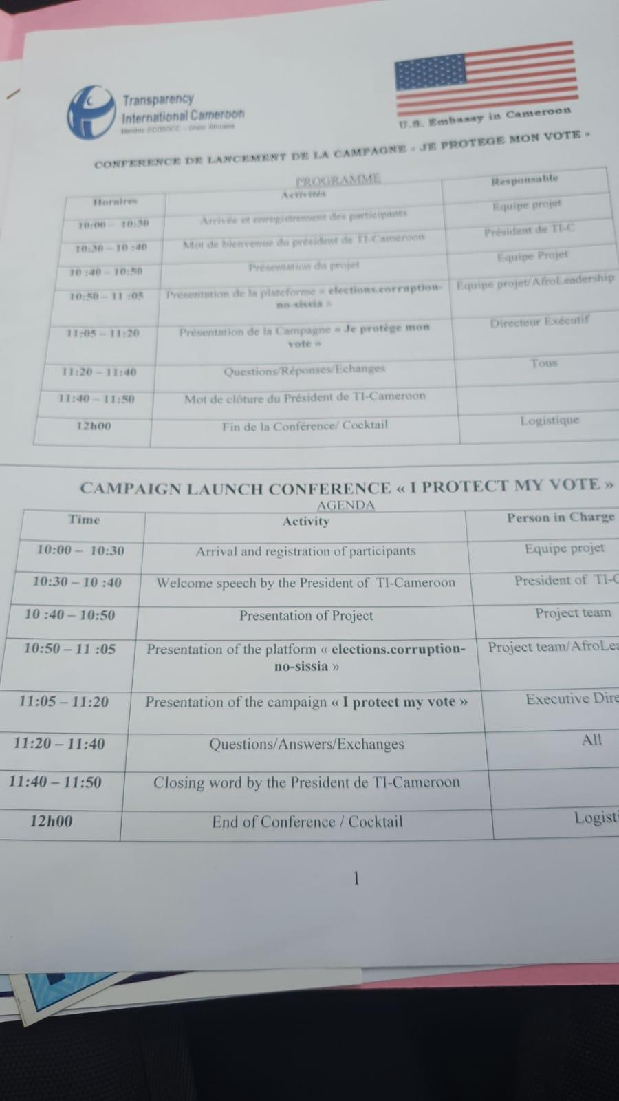 Meeting with Transparency International Cameroon attended by election observers.