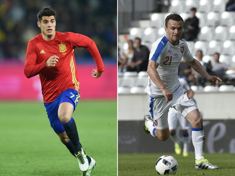 L'Espagnol Alvaro Morata (à gauche) et le Tchèque David Lafata vont s'affronter à l'Euro 2016.