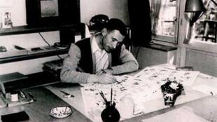 Hergé en pleno trabajo, el 15 de abril de 1949.