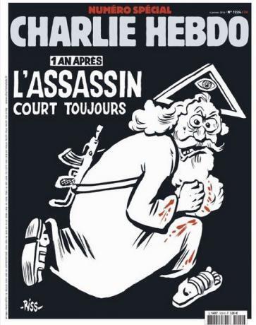 """La portada del 6 de enero de 2016 de Charlie Hebdo: """"Un año después, el asesino sigue suelto""""."""