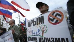 Manifestación pro Rusia en Simferópol, Crimea.