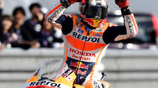 Honda MotoGP rider Marc Marquez (file picture) will start on pole at the Australian MotoGP