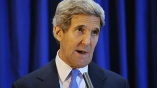 El Secretario de Estado norteamericano, John Kerry, durante una conferencia de prensa en Ammán, Jordania, el 19 de julio de 2013.