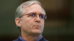 Paul Whelan, à Moscou, écoutant le verdict de son procès, le 15 juin 2020.