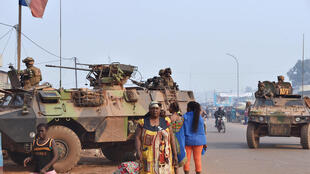 This February 2016 file photo shows French Sangaris forces patrolling in the PK 5 district in Bangui.