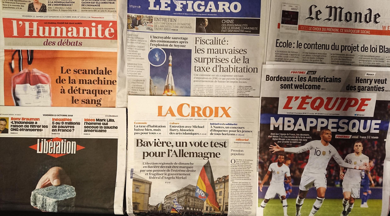 Primeiras páginas dos jornais franceses de 12 de outubro de 2018