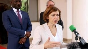 French Defense Minister Florence Parly speaks after meeting with Mali's President Ibrahim Boubacar Keita in Bamako, Mali, 5 November 2019