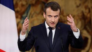 Emmanuel Macron lors de ses voeux à la presse au Palais de l'Elysee, le 3 janvier 2018.