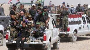 Les forces paramilitaires à majorité chiites se déploient au nord-ouest de Bagdad, le 26 mai 2015.