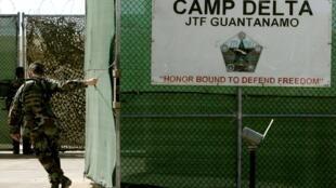 Entrée de la prison américaine de Guantanamo située sur l'île de Cuba.