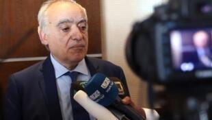 Le médiateur onusien pour la Libye Ghassan Salamé à Tripoli, le mardi 3 octobre 2017, lors d'une conférence de presse.