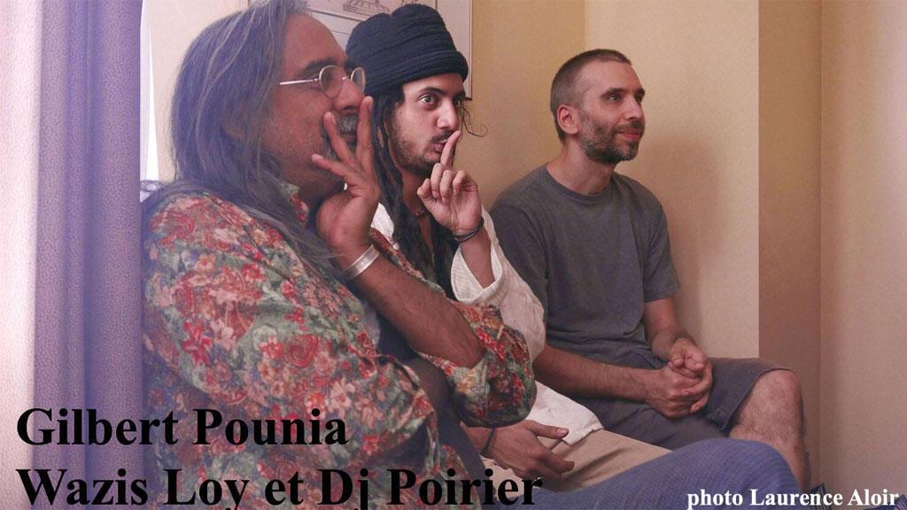 Gilbert Pounia de Ziskakan, son fils Wazis Loy, et DJ Poirier venu en spectateur à Montréal.