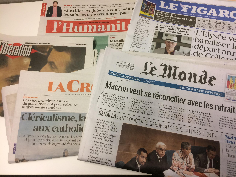 Primeiras páginas dos jornais franceses de 19 de setembro de 2018