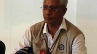 Zacarias da Costa, chefe da missão de observação da CPLP durante a conferência em que divulgou as conclusões da missão sobre as eleições são-tomenses.