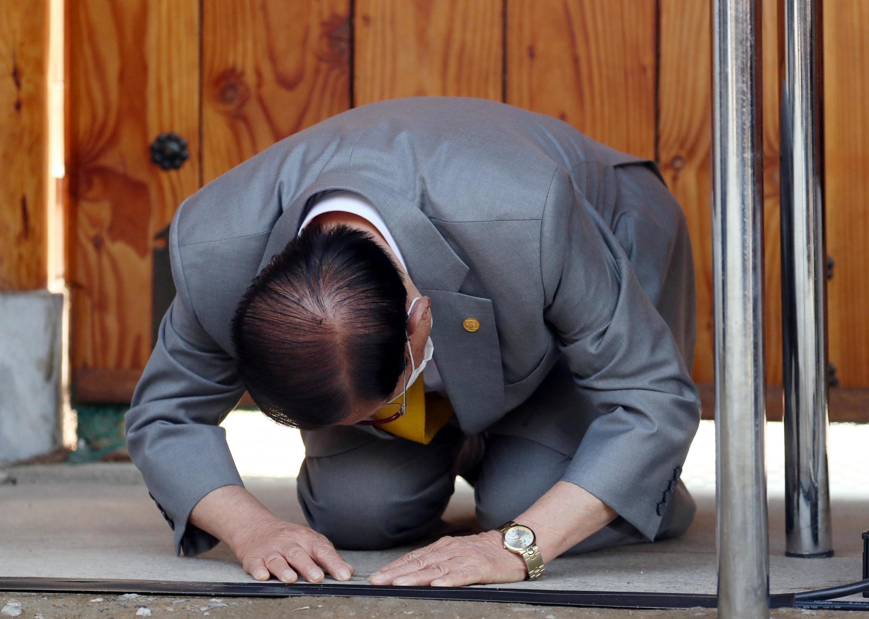 Covid-19 : giáo chủ Tân Thiên Địa khấu đầu tạ tộiđã vô tình để nhiều người mắc bệnh. Ảnh ngày 02/03/2020.