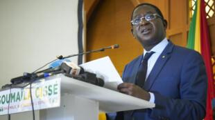 Le chef de l'opposition Soumaïla Cissé lors d'une conférence de presse, le 17 août 2018,  à Bamako (image d'illustration).