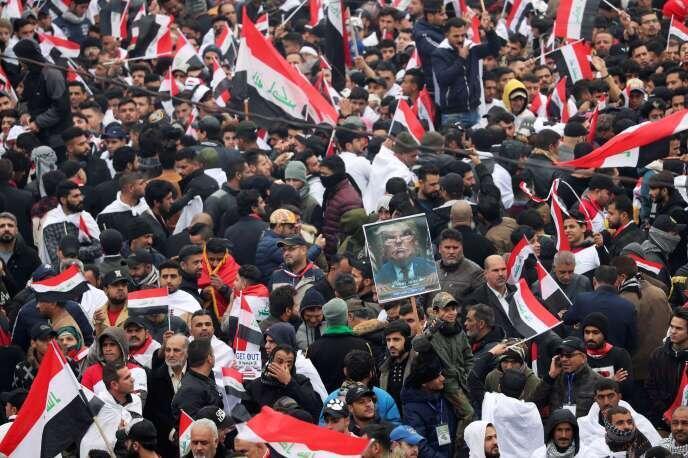 تظاهرات در پاسخ به فراخوان مقتدا صدر در بغداد. جمعه ٤ بهمن/ ٢٤ ژانویه ٢٠٢٠