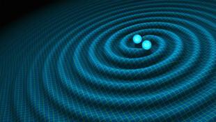 Ảnh minh họa mô phỏng sóng hấp dẫn được sinh ra từ một vụ va chạm giữa các ngôi sao neutron hay các cặp lỗ đen.