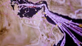 图为卡塔尔周边石油汽车运输流量监控图