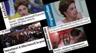 Jornais europeus Les Echos, The Guardian, Corriere della Sera e El País comentam resultado da Comissão do impeachment. 12/04/16.