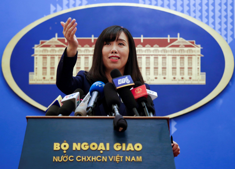 Phát ngôn viên bộ Ngoại Giao Việt Nam Lê Thị Thu Hằng. Ảnh họp báo ngày 03/08/2017.