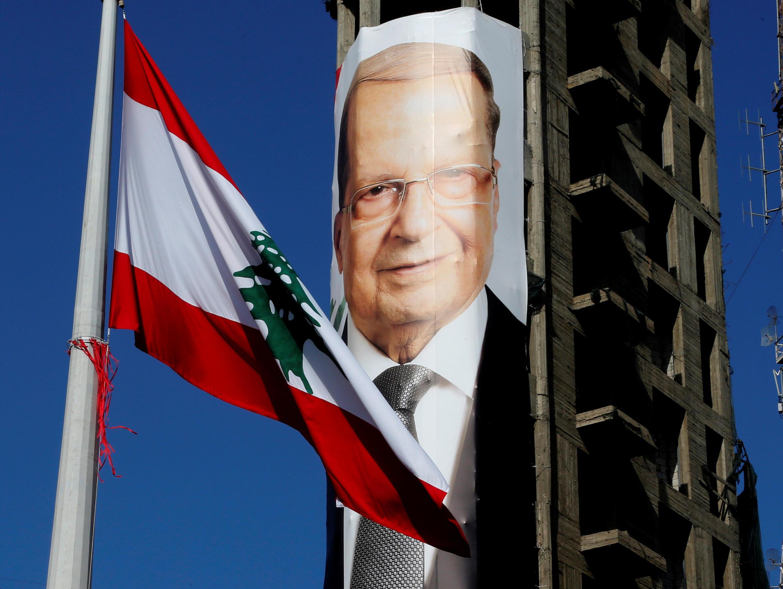 Retrato de Michel Aoun,  novo  Presidente do Líbano. 30 de Outubro de 2016.