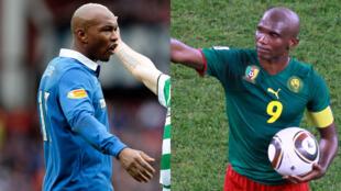 El-Hadji Diouf et Samuel Eto'o ont dénoncé les maux du football africain, le 6 janvier 2019 (photos d'archive).
