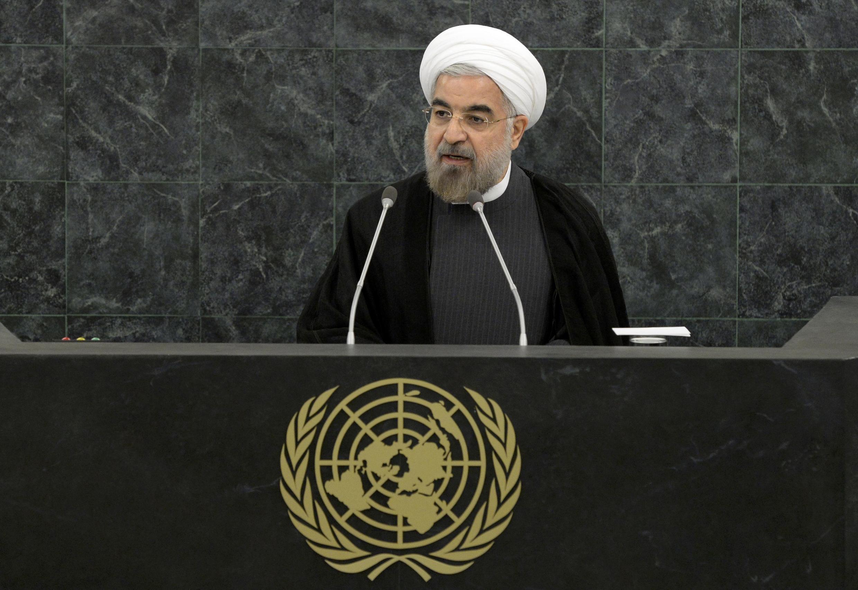 Tổng thống Ỉan Hassan Rohani trên diễn đàn khóa họp 68 Đại hội đồng Liên Hiệp Quốc  tại New York ngày 26/9/2013.