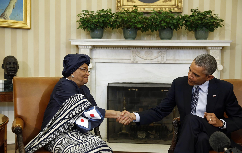 Shugaban Amurka Barack Obama da Shugabar Liberia Johnson Sirleaf