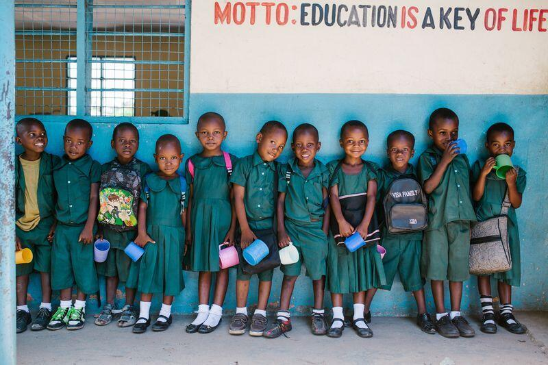 Pupils in front of the Lyaila Secondary School in Tanzania