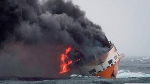 The Grande America cargo ship sank on Tuesday off the coast of Brittany