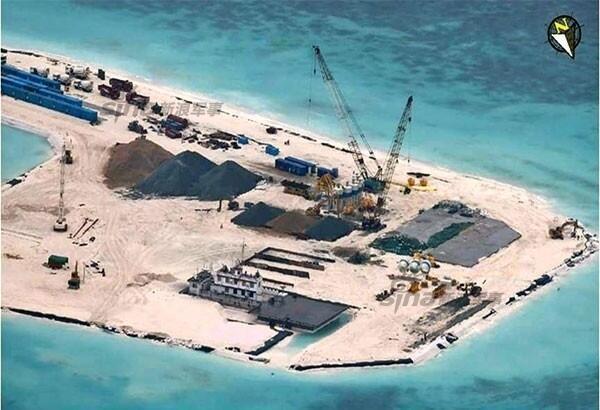 Công trình bồi đắp bãi ngầm Đá Tư Nghĩa (Hughes Reef) của Trung Quốc đang hoàn thiện. Nguồn : Chinatopix.com