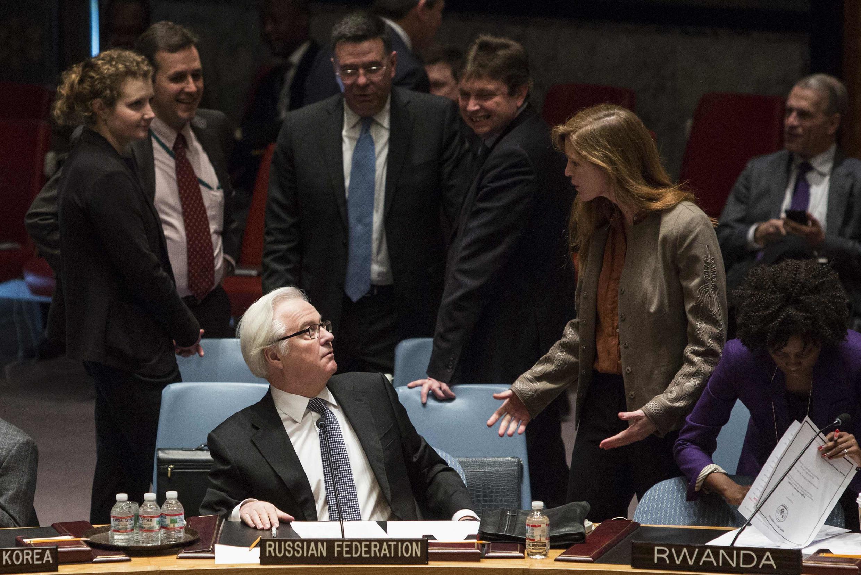 Российский представитель в ООН во время голосования в Совете Безопасности ООН 15 марта 2014