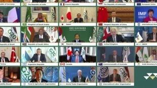 Foto del G20 virtual organizado por Arabia Saudita en noviembre de 2020. Foto de ilustración.