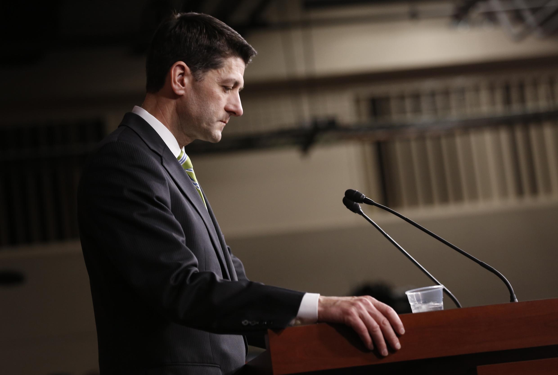 Chủ tịch Hạ Viện phe Cộng Hòa,  Paul Ryan phát biểu sau thất bại không hủy được dự luật Obamacare,  tại Washington, ngày 24/03/2017.