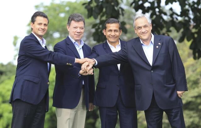 Los presidentes Enrique Peña Nieto (México), Juan Manuel Santos (Colombia), Ollanta Humala (Perú), y Sebastián Piñera (Chile), en la VII Cumbre de la Alianza del Pacífico, el pasado 23 de mayo en Colombia.
