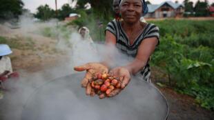 Une femme prépare l'huile de palme utilisée pour la consommation alimentaire et la production de savon à Kisangani, en RDC.