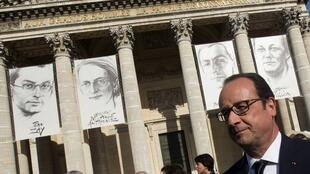 François Hollande in front of portraits of Germaine Tillon, Geneviève de Gaulle Anthonioz, Pierre Brossolette  Jean Zay at the Panthéon, 27 May 2015